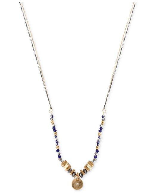 Kenneth Cole | Blue Two-tone Mixed Bead Circle Pendant Necklace | Lyst