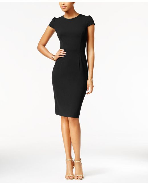 Lyst Betsey Johnson Puff Sleeve Scuba Dress In Black Save
