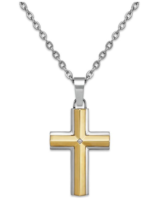 Macy's | Metallic Diamond Accent Cross Pendant Necklace In Stainless Steel And 10k Gold for Men | Lyst