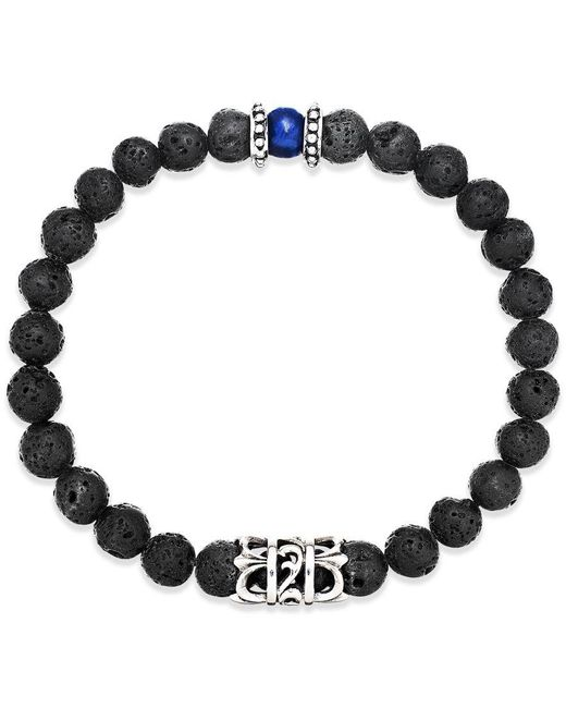 Macy's | Black Men's Onyx Lava Bead Bracelet In Stainless Steel for Men | Lyst