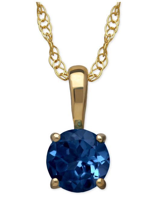 Macy's   Metallic Sapphire Round Pendant Necklace In 14k Gold (2/3 Ct. T.w.)   Lyst
