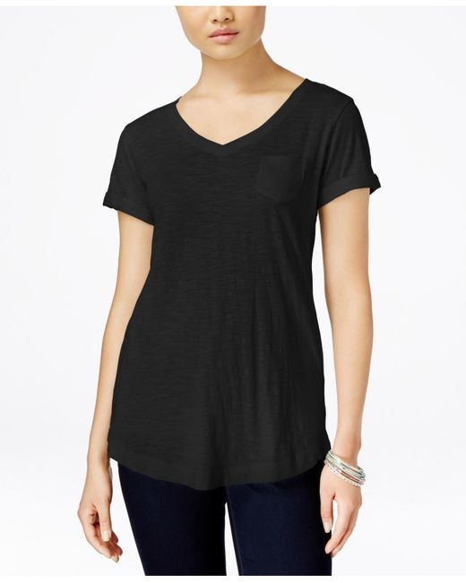 Style & Co. | Black V-neck Tee | Lyst