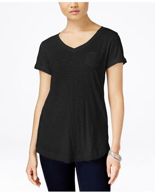 Style & Co.   Black V-neck Tee   Lyst