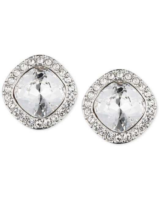 Givenchy | Metallic Rhodium-tone Pave Cushion Button Stud Earrings | Lyst