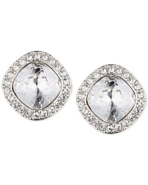 Givenchy   Metallic Rhodium-tone Pavé Cushion Button Stud Earrings   Lyst