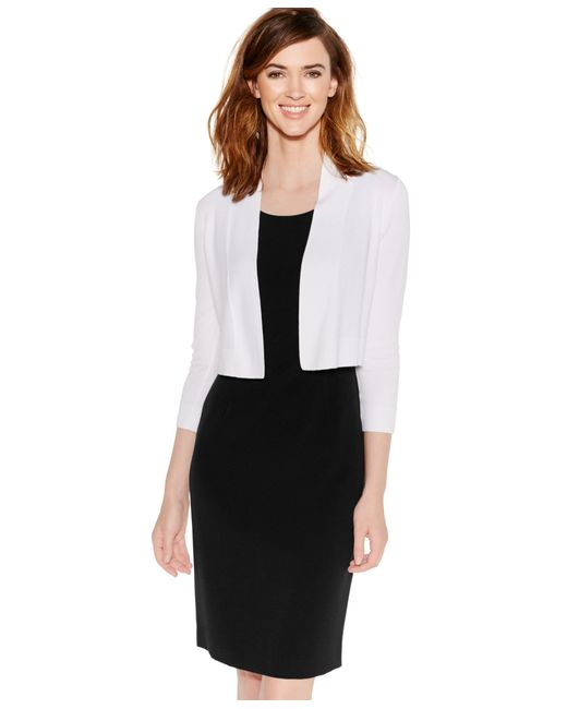 Calvin Klein | White Cropped Open-front Cardigan | Lyst