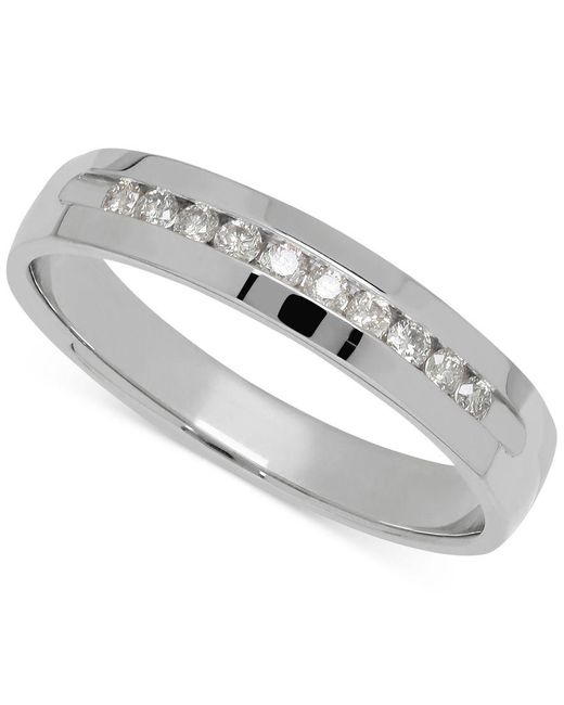Macy's | Metallic Men's Diamond Band In 14k White Gold (1/4 Ct. T.w.) for Men | Lyst