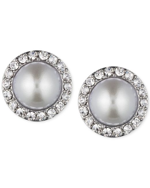 Givenchy | Metallic Silver-tone Imitation Pearl And Crystal Stud Earrings | Lyst