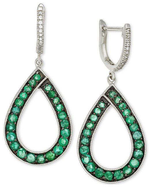 Macy's | Green Emerald (1-5/8 Ct. T.w.) And Diamond (1/10 Ct. T.w.) Teardrop Earrings In 14k White Gold | Lyst