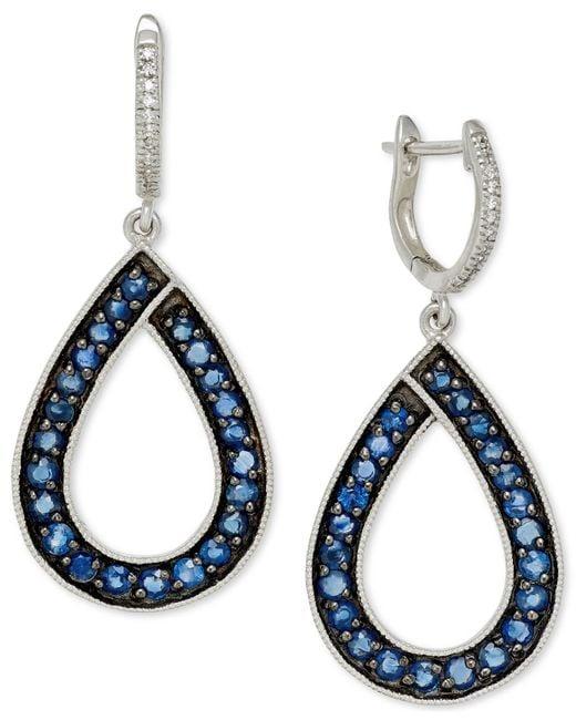 Macy's | Blue Sapphire (1-9/10 Ct. T.w.) And Diamond (1/10 Ct. T.w.) Teardrop Earrings In 14k White Gold | Lyst