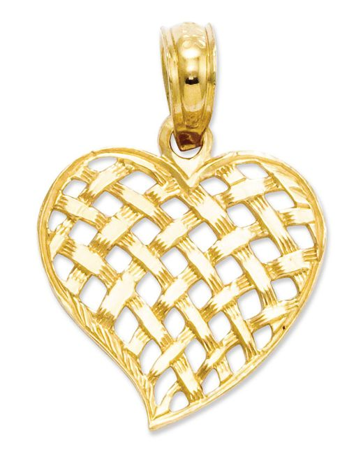 Macy's - Metallic 14k Gold Charm, Basket Weave Heart Charm - Lyst