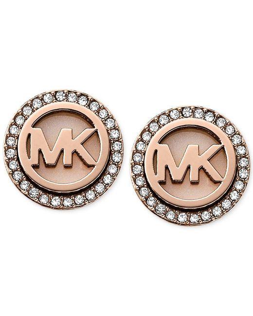 Michael Kors | Pink Rose Gold-tone Mk Logo Disc Earrings - Macy's Exclusive | Lyst