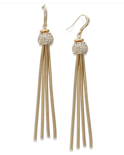 INC International Concepts | Metallic Gold-tone Pavé Snake Chain Linear Drop Earrings | Lyst