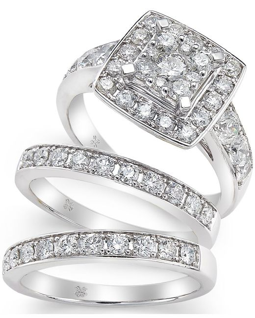 Macy s Diamond Engagement Ring Bridal Set 2 Ct T w In 14k White Gold
