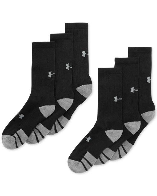 Under Armour   Black Men's Resistor Ii Crew Socks 6-pack for Men   Lyst