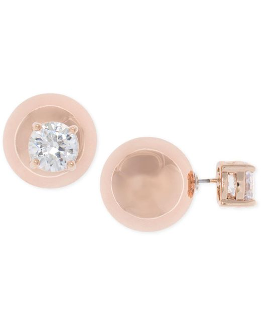 Anne Klein | Metallic Rose Gold-tone Crystal And Ball Front Back Earrings | Lyst