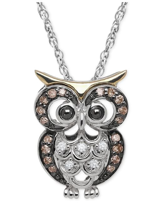 Macy's   Brown White And Chocolate Diamond Owl Pendant Necklace (1/10 Ct. T.w.) In Sterling Silver And 14k Gold   Lyst