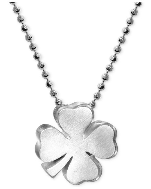 Alex Woo | Metallic Little Faith Clover Pendant Necklace In Sterling Silver | Lyst