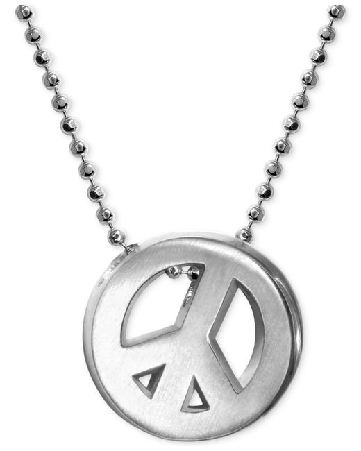 Alex Woo   Metallic Little Faith Peace Sign Pendant Necklace In Sterling Silver   Lyst