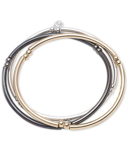 Nine West | Metallic Tri-tone Set Of 3 Stretch Bangle Bracelets | Lyst