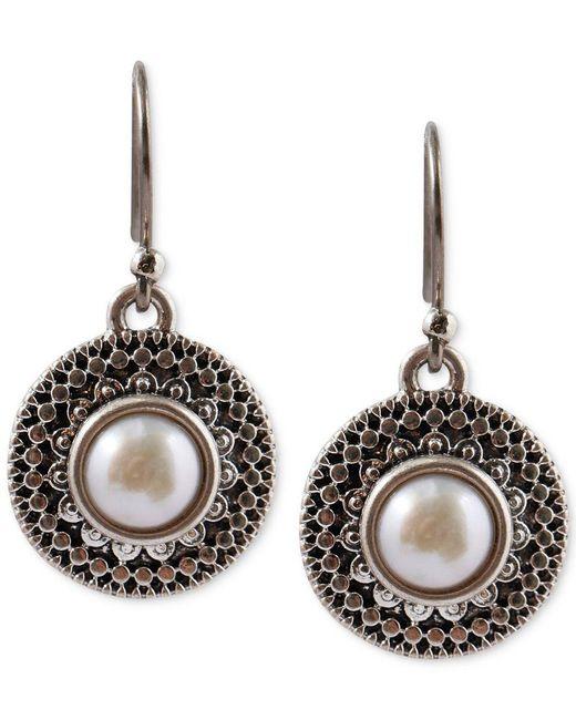 Lucky Brand   Metallic Silver-tone Freshwater Pearl Small Drop Earrings   Lyst