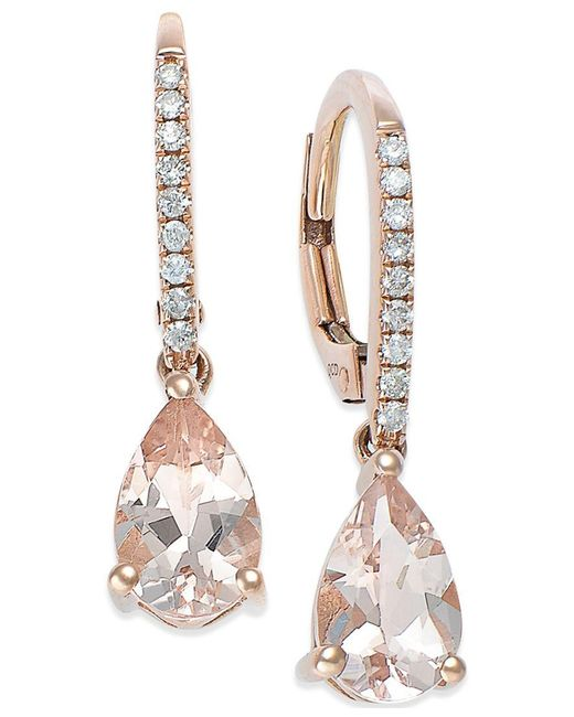 Macy's   Metallic Morganite (1-1/5 Ct. T.w.) And Diamond (1/10 Ct. T.w.) Earrings In 14k Rose Gold   Lyst