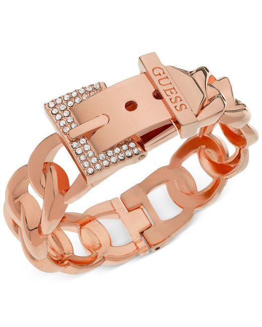 Guess   Pink Rose Gold-tone Crystal Buckle Hinge Bangle Bracelet   Lyst