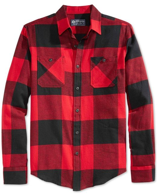 American Rag | Red Men's Buffalo Plaid Flannel Shirt, Only At Macy's for Men | Lyst