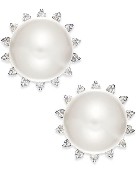 Macy's | White Cultured Freshwater Pearl (8mm) And Diamond (1/5 Ct. T.w.) Earrings In 14k Gold | Lyst
