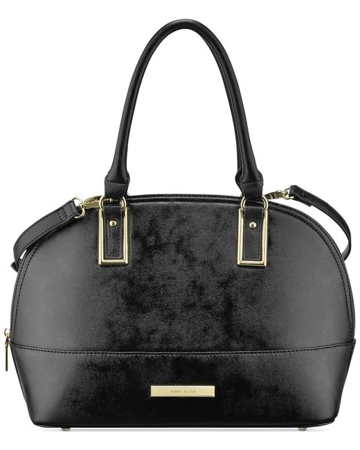 Anne Klein | Black Shimmer Down Large Dome Satchel | Lyst