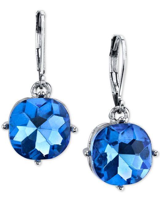 2028   Silver-tone Blue Stone Drop Earrings   Lyst