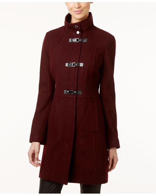 Kenneth Cole | Brown Faux-leather-trim Buckle-front Walker Coat | Lyst