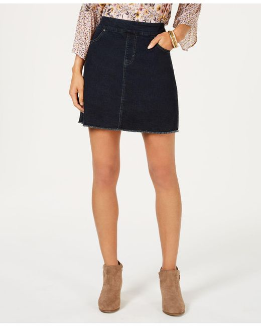 Style & Co. Blue Petite Pull-on Frayed-hem Skort, Created For Macy's