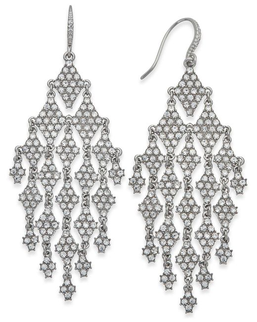 INC International Concepts - Metallic Silver-tone Crystal Chandelier Earrings - Lyst
