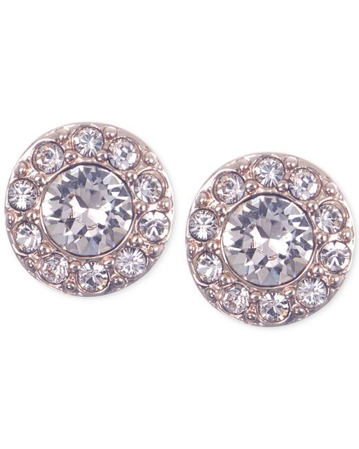 Givenchy | Pink Rose Gold-tone Small Pave Stud Earrings | Lyst