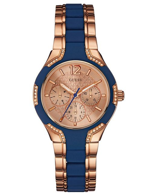 guess s blue silicone and gold tone steel