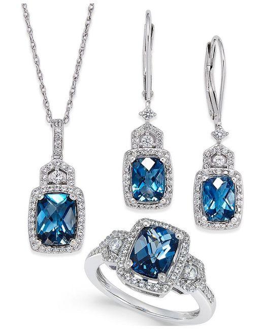 Macy's   Metallic London Blue Topaz (4-3/5 Ct. T.w.) And White Topaz (7/8 Ct. T.w.) Jewelry Set In Sterling Silver   Lyst