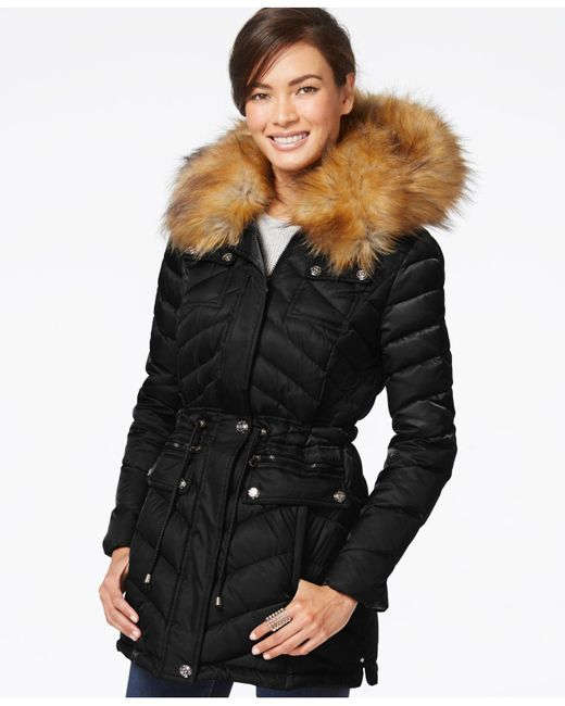 Laundry by Shelli Segal | Black Faux-fur-collar Puffer Down Coat | Lyst