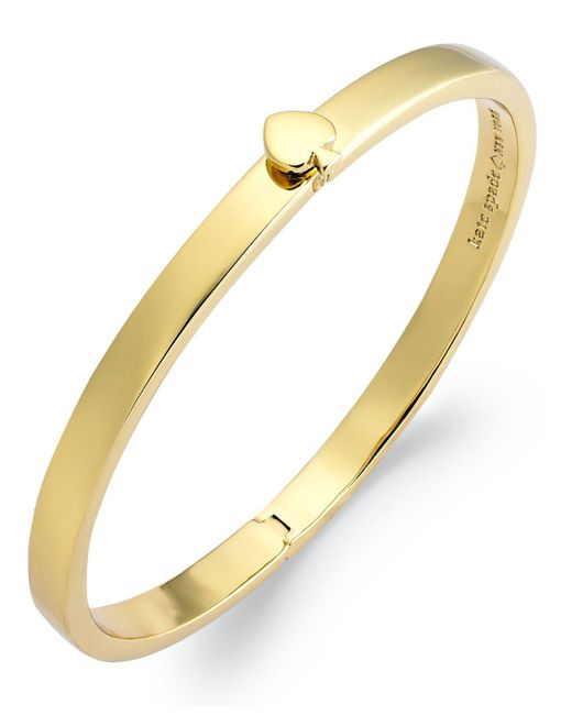 Kate Spade | Metallic Bracelet, 12k Gold-plated Spade Hinged Thin Bangle Bracelet | Lyst