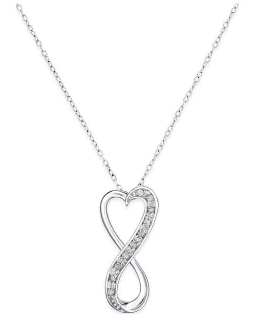 macy 39 s diamond infinity heart pendant necklace in sterling. Black Bedroom Furniture Sets. Home Design Ideas