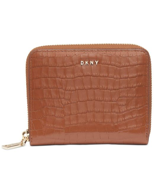 DKNY Brown Bryant Croc Zip Around Leather Wallet, Created For Macy's