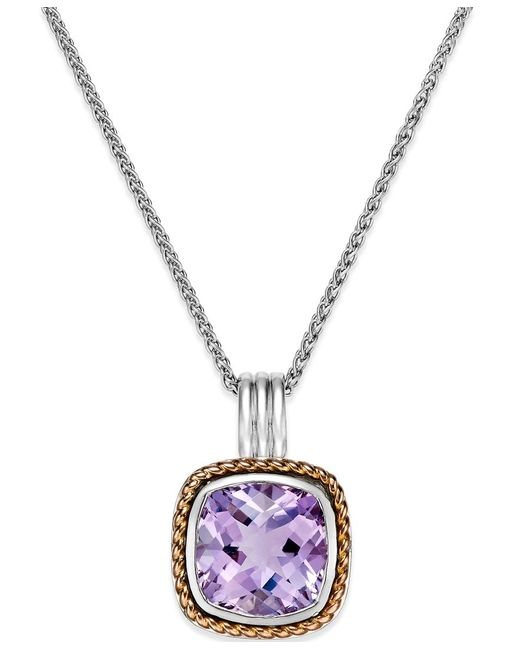 Macy's | Metallic Amethyst Pendant Necklace (6 Ct. T.w.) In 18k Rose Gold And Sterling Silver | Lyst