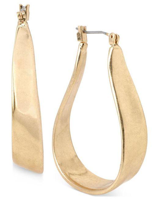 Kenneth Cole | Metallic Gold-tone Organic Hoop Earrings | Lyst