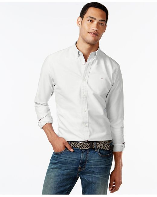 Tommy Hilfiger | White New England Solid Long-sleeve Custom-fit Oxford Shirt for Men | Lyst