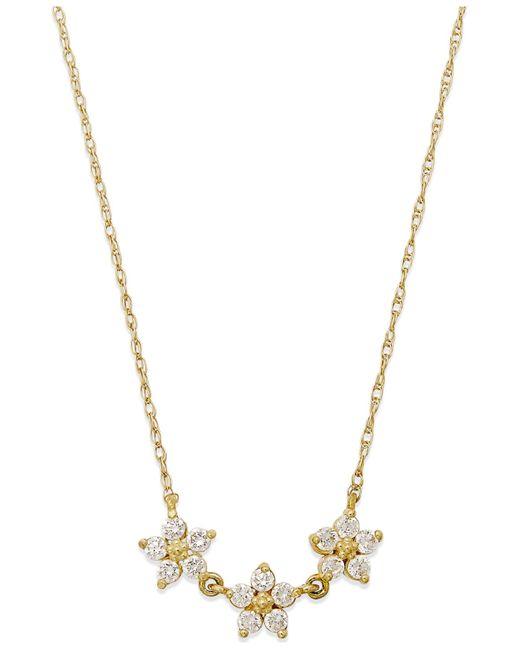 Macy's | Metallic Cubic Zirconia Linked Flower Pendant Necklace In 10k Gold | Lyst