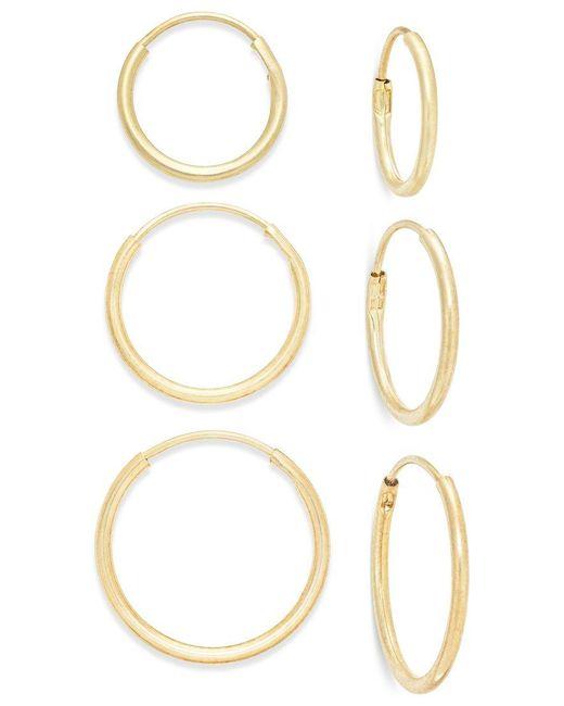 Macy's | Metallic Polished Hoop Earring Set In 10k Gold | Lyst