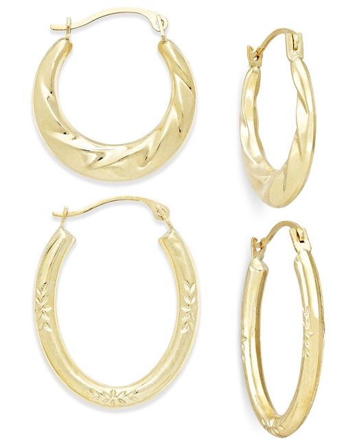 Macy's | Metallic Ribbed And Diamond-cut Hoop Earring Set In 10k Gold | Lyst