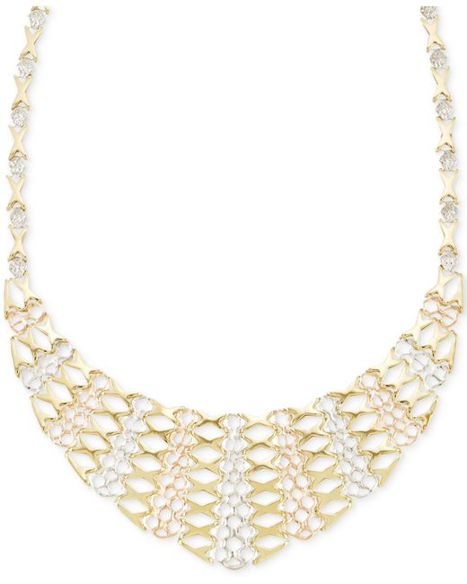 Macy's | Metallic Tri-tone Graduated Frontal Necklace In 14k Gold | Lyst