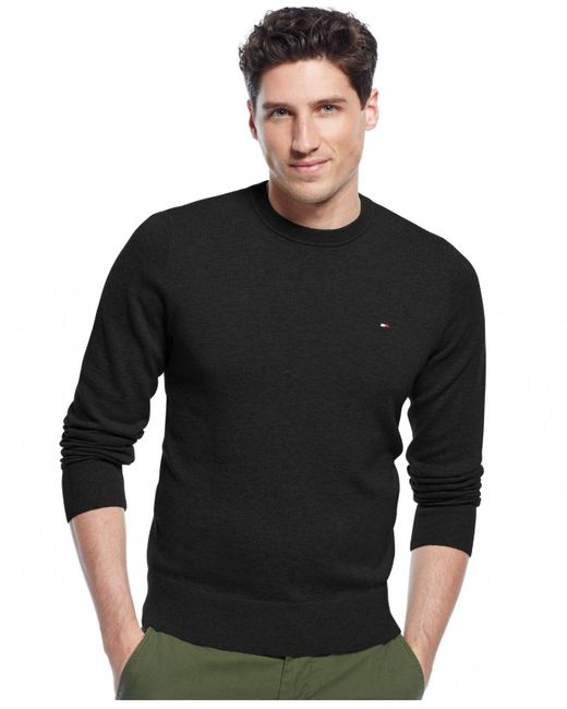 Tommy Hilfiger | Black Signature Solid Crew-neck Sweater for Men | Lyst