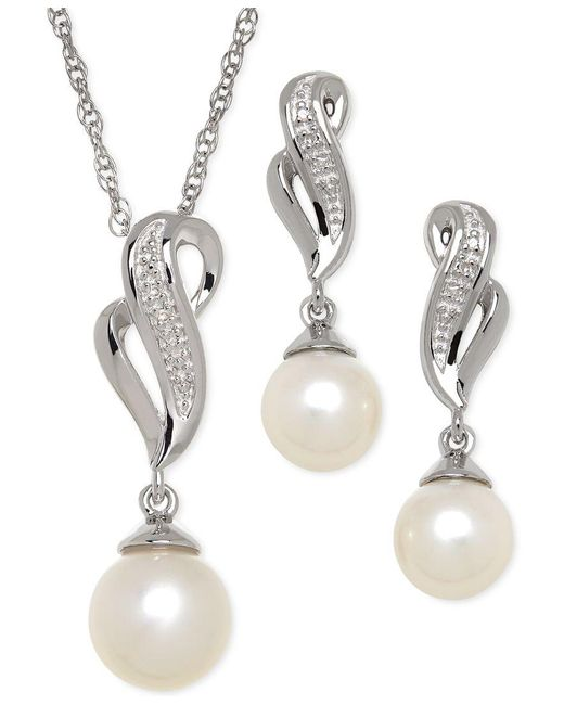Macy's   Metallic Cultured Freshwater Pearl (7-8mm) And Diamond Accent Jewelry Set In Sterling Silver   Lyst